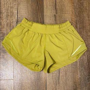 LULULEMON GLDL Mustard Hotty Hot Running Shorts